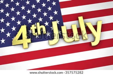 US independence day USA concept with the United States of America flag on background and 4 th of July golden sign. - stock photo