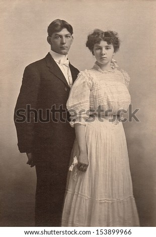 US - KANSAS - CIRCA 1890 - A vintage photo of a young couple on their wedding day. A photo is from the Victorian era. CIRCA 1890 - stock photo