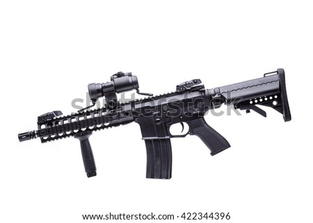 US M16 rifle with optical sight on white background/M16 rifle isolated - stock photo