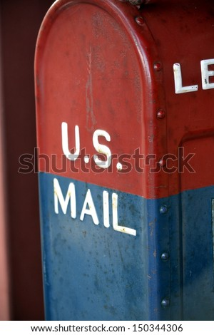 US Mail Red and Blue - stock photo