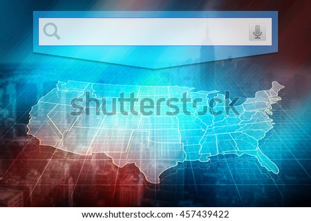 US map with states. Half transparent white map of United States at colourful background. Conceptual image, US map with search bar. Design us map - stock photo