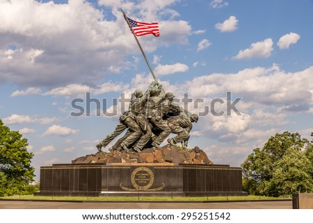 US Marine Corps Memorial. Monument located in Arlington Virginia, near Washington DC. Photograph shot on May 22, 2015. - stock photo