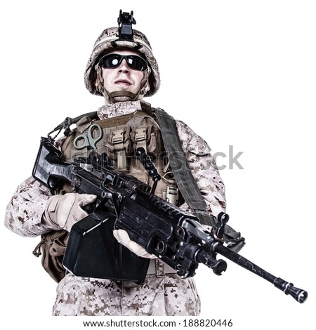 US marine with his assault rifle on white background - stock photo