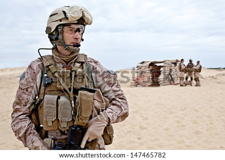 US marines in the desert near the blockpost - stock photo