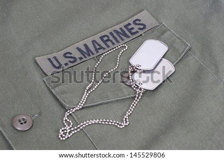 us marines uniform with blank dog tags - stock photo