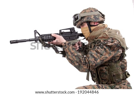 US MARINES with m4 carbine - stock photo