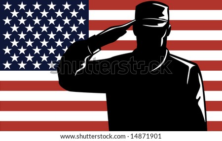 US Military service man saluting the American  flag