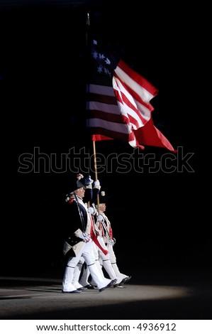 US Militia Group carry the Stars and stripes at Edinburgh Miiltary Tattoo 2007 - stock photo