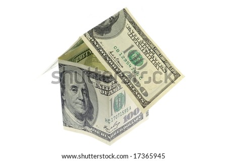 US money house in isolated white background