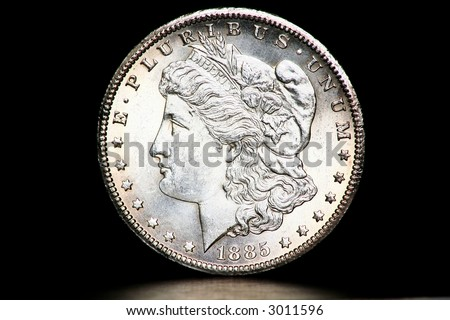 US Morgan Silver Dollar minted 1885.