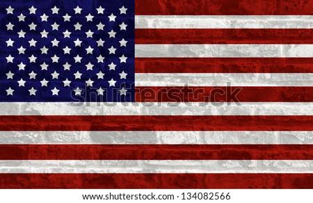 US national flag on stone wall background - stock photo