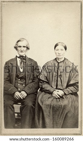 US - OHIO - CIRCA 1860 - A vintage Cartes de visite photo of an elderly couple. The man and wife are sitting next to each other. A photo from the Civil War era. CIRCA 1860  - stock photo