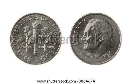US one dime coin (ten cents) isolated on white – obverse and reverse - stock photo