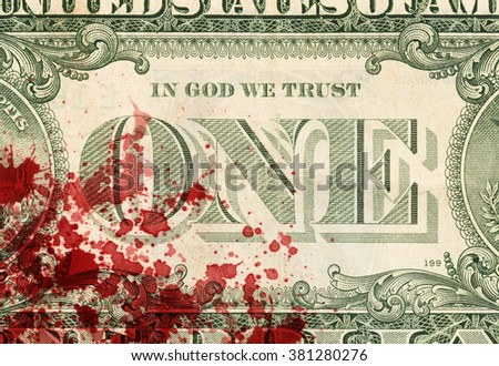 US one Dollar bill, close up photo - stock photo