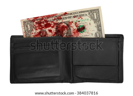 US one Dollar bill in a wallet, close up photo - stock photo