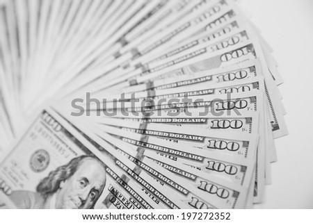 US One Hundred Dollar Bills. Black and white photos - stock photo