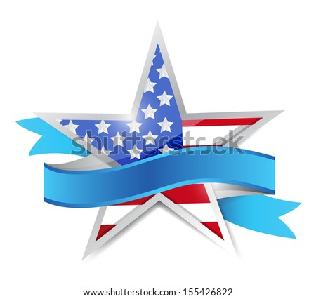 us patriotic star and ribbon. illustration design over white - stock photo