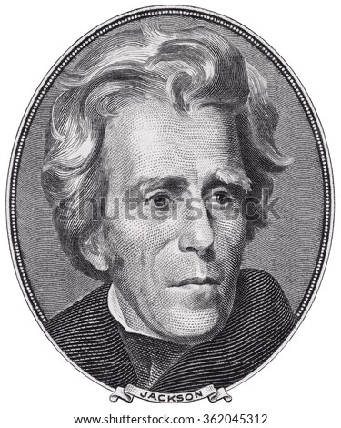 US President Andrew Jackson face on twenty dollar bill macro isolated, united states money closeup - stock photo