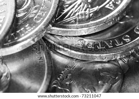 US Presidential Coins Gray Scale - stock photo