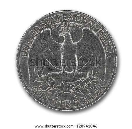 US quarter isolated on white background with clipping mask - stock photo