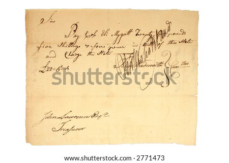 US Revolutionary War Pay Document to an Officer (1760-90).