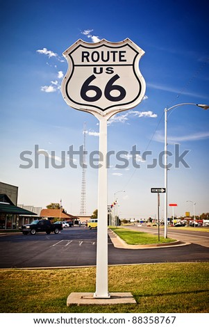 US Route 66 sign - stock photo