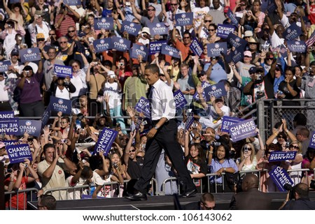 US Senator Barack Obama on platform at Early Vote for Change Presidential rally at Bonanza High School, Judy K. Cameron Stadium in Las Vegas, NV, October 25, 2008 - stock photo