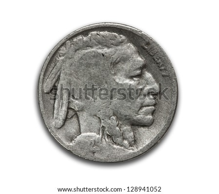 US silver buffalo nickel on white with path - stock photo