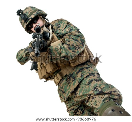 US soldier aiming his rifle - stock photo