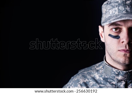US Soldier close up - stock photo