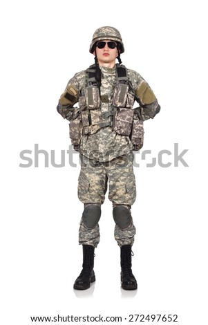 US soldier standing on a white background - stock photo