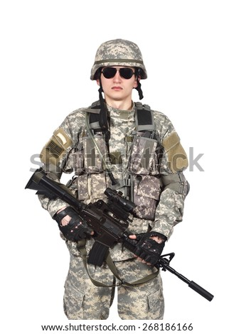 US soldier with rifle isolation on white background - stock photo