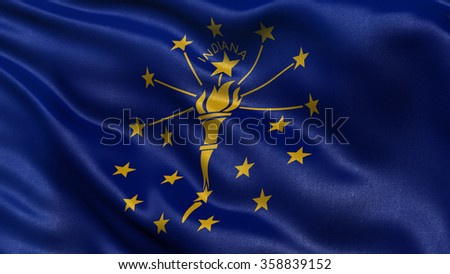 US state flag of Indiana with great detail waving in the wind. - stock photo