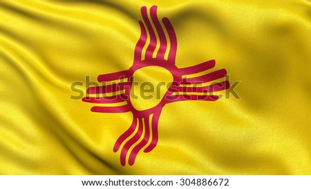 US state flag of New Mexico with great detail waving in the wind. - stock photo