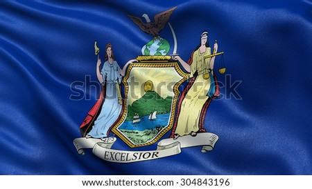 US state flag of New York with great detail waving in the wind. - stock photo