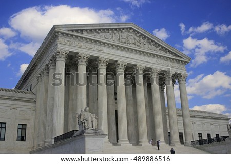 US SUPREME COURT WASHINGTON DC JULY 2015: The highest US court is situated in a four-story marble building which was finished in 1935 in a classical style similar to Capitol and Library of Congress,