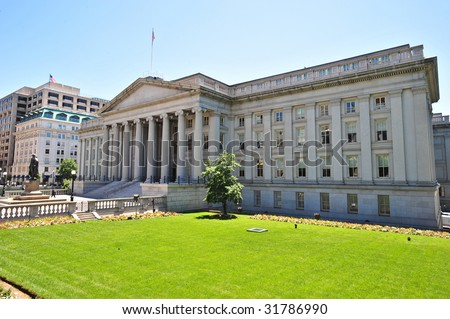 US Treasury building at fifteenth and Pennsylvania Avenue NW in Washington, DC. GPS coordinates embedded in metadata. - stock photo