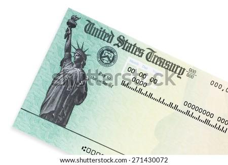 US treasury check. - stock photo