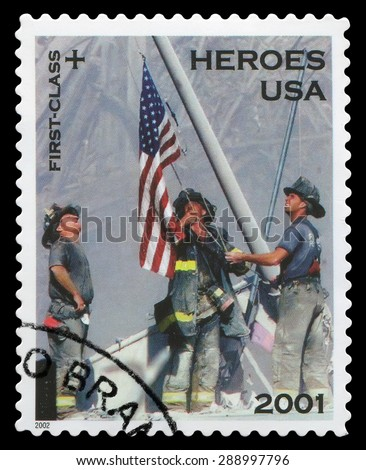 US- 2002: US postage stamp, for the memory of the heroes in the terrorist attach on September 11 of 2001, Issued by USPS.  - stock photo