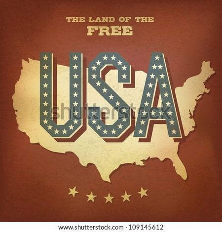 USA abstract retro poster design. Raster version, vector file available in portfolio - stock photo