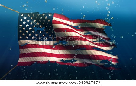 USA America Under Water Sea Flag National Torn Bubble 3D - stock photo