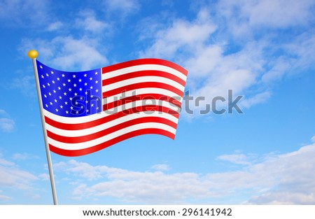 USA American flag against cloudy blue sky background