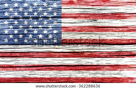 USA, American flag on old wood  background - stock photo