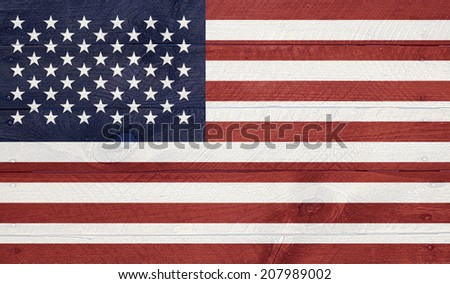 USA, American - National symbol series of flags, layered on wooden boards with nails. - stock photo