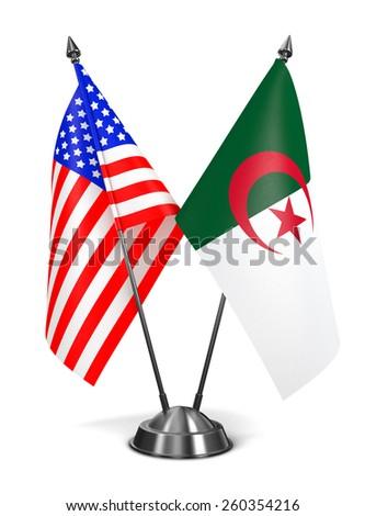 USA and Algeria - Miniature Flags Isolated on White Background. - stock photo