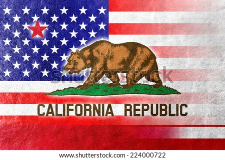 USA and California State Flag painted on leather texture - stock photo