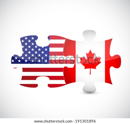 usa and canada flag puzzle pieces illustration design over a white background - stock photo