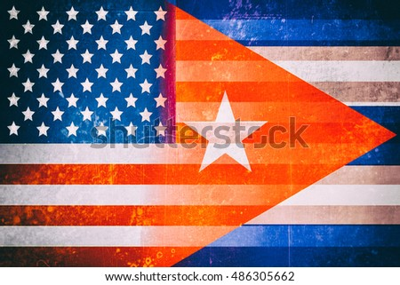 USA and Cuba flags - Vintage flag concept