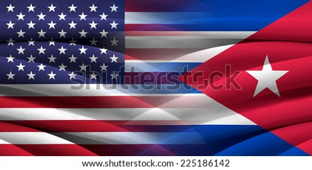 USA and Cuba. Relations between two countries. Conceptual image. - stock photo