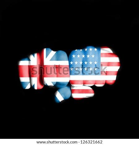 USA and England flag on fists - stock photo